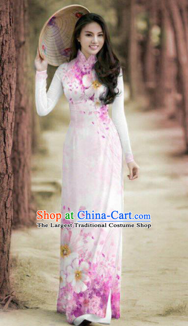 Vietnam Traditional Printing Pink Ao Dai Dress Asian Vietnamese Bride Classical Cheongsam for Women