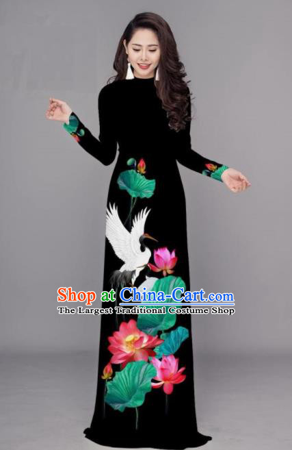 Vietnam Traditional Printing Lotus Black Ao Dai Dress Asian Vietnamese Bride Classical Cheongsam for Women
