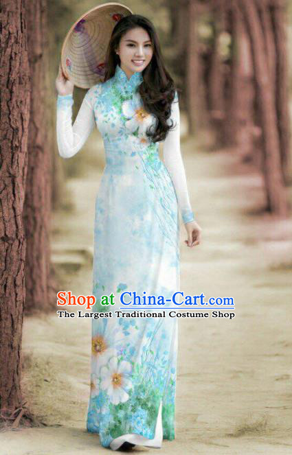 Vietnam Traditional Printing Blue Ao Dai Dress Asian Vietnamese Bride Classical Cheongsam for Women
