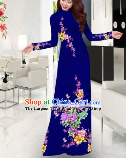 Vietnam Traditional Printing Plum Blossom Peony Navy Ao Dai Dress Asian Vietnamese Bride Classical Cheongsam for Women
