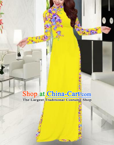 Vietnam Traditional Printing Yellow Ao Dai Dress Asian Vietnamese Bride Classical Cheongsam for Women