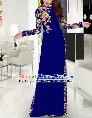 Vietnam Traditional Printing Royalblue Ao Dai Dress Asian Vietnamese Bride Classical Cheongsam for Women