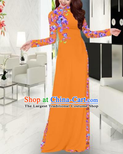 Vietnam Traditional Printing Orange Ao Dai Dress Asian Vietnamese Bride Classical Cheongsam for Women