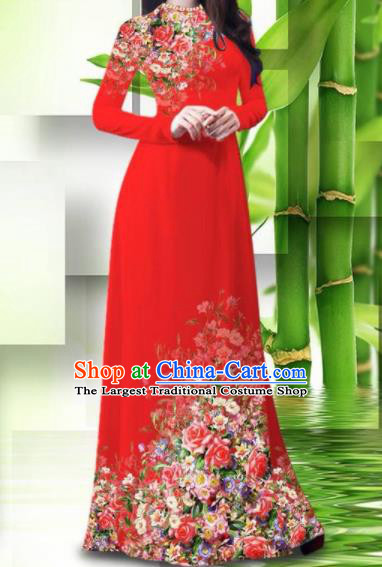 Vietnam Classical Printing Roses Red Ao Dai Dress Asian Traditional Vietnamese Bride Cheongsam for Women