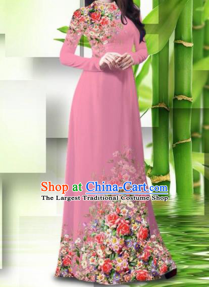 Vietnam Classical Printing Roses Pink Ao Dai Dress Asian Traditional Vietnamese Bride Cheongsam for Women