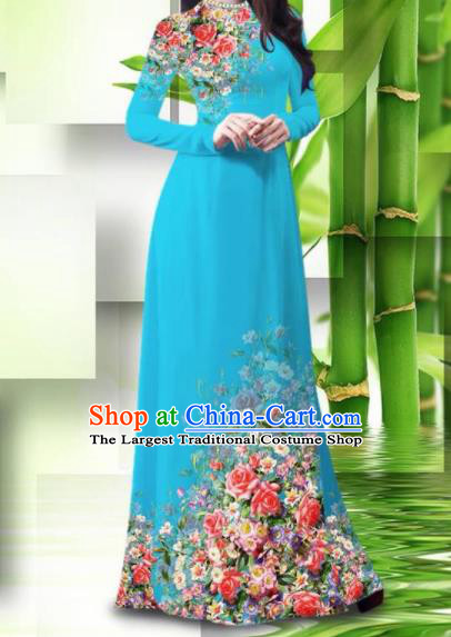 Vietnam Classical Printing Roses Blue Ao Dai Dress Asian Traditional Vietnamese Bride Cheongsam for Women