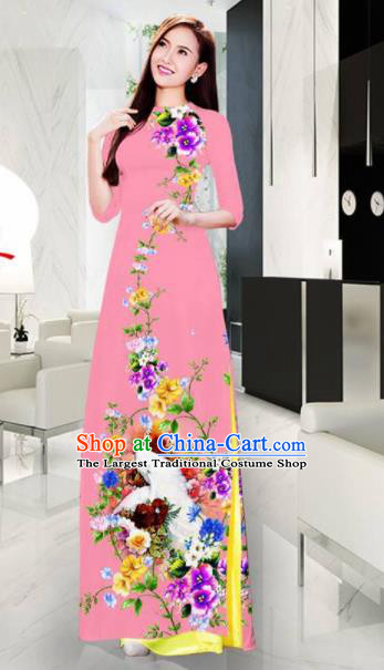 Vietnam Classical Printing Crane Pink Ao Dai Dress Asian Traditional Vietnamese Bride Cheongsam for Women