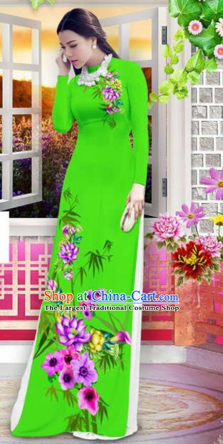 Vietnam Classical Printing Bamboo Lotus Green Ao Dai Dress Asian Traditional Vietnamese Bride Cheongsam for Women