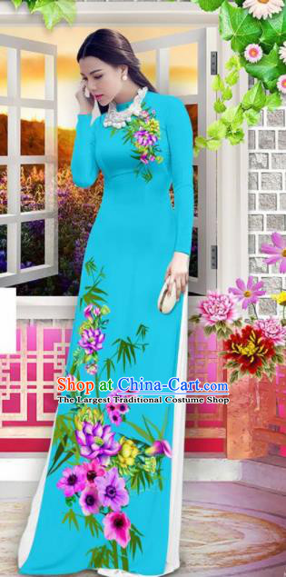 Vietnam Classical Printing Bamboo Lotus Blue Ao Dai Dress Asian Traditional Vietnamese Bride Cheongsam for Women