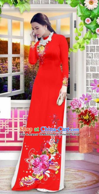 Vietnam Classical Wedding Red Ao Dai Dress Asian Traditional Vietnamese Bride Cheongsam for Women