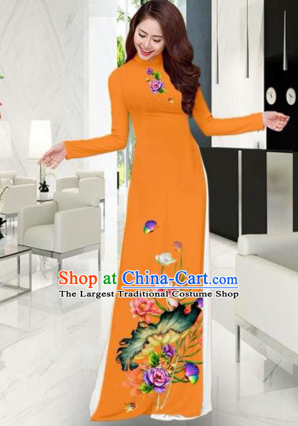 Vietnam National Costume Classical Printing Lotus Orange Ao Dai Dress Asian Traditional Vietnamese Cheongsam for Women