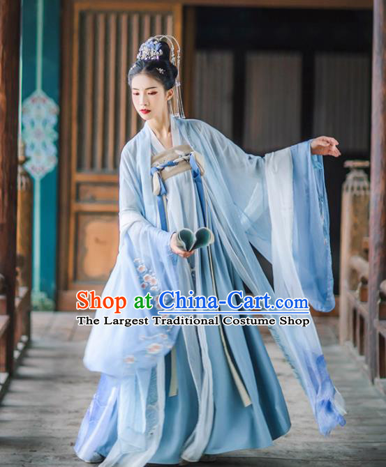 Chinese Traditional Ancient Goddess Embroidered Blue Hanfu Dress Tang Dynasty Imperial Consort Historical Costume for Women