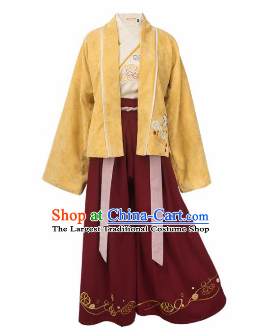 Chinese Traditional Ancient Young Lady Embroidered Hanfu Dress Song Dynasty Female Scholar Historical Costume for Women
