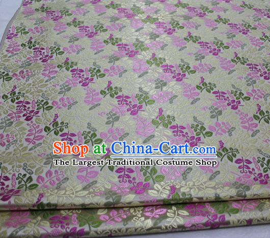 Asian Chinese Traditional Classical Leaf Pattern White Brocade Tang Suit Satin Fabric Material Classical Silk Fabric