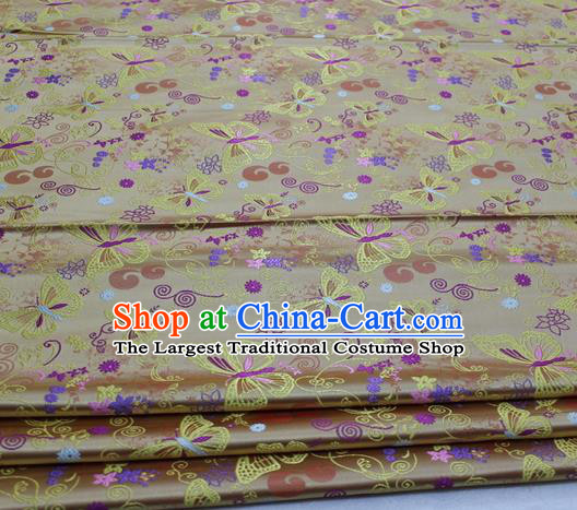 Asian Chinese Traditional Classical Butterfly Pattern Golden Brocade Tang Suit Satin Fabric Material Classical Silk Fabric