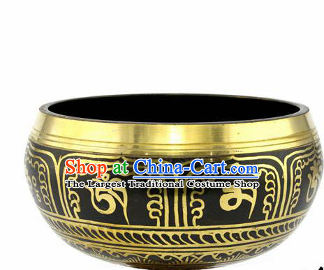 Chinese Traditional Buddhism Copper Sanskrit Bowl Feng Shui Items Buddhist Decoration