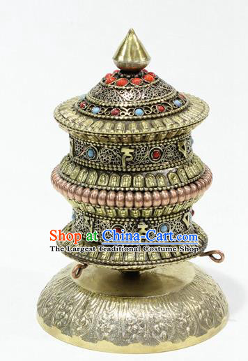 Chinese Traditional Buddhism Copper Pray Wheel Feng Shui Items Vajrayana Buddhist Decoration