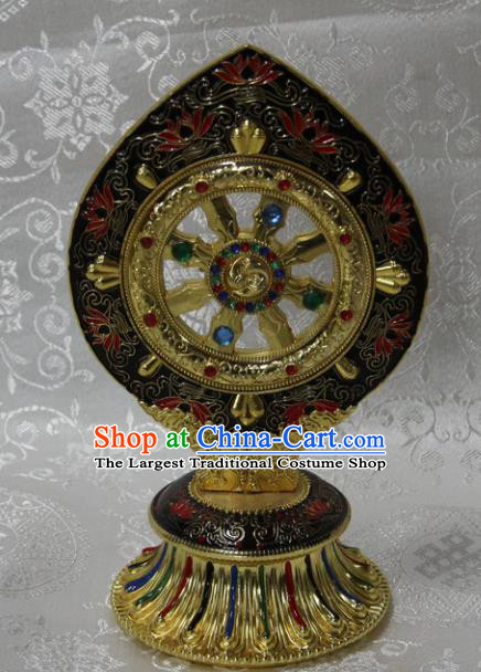 Chinese Traditional Buddhism Cloisonne Wheel Feng Shui Items Vajrayana Buddhist Decoration