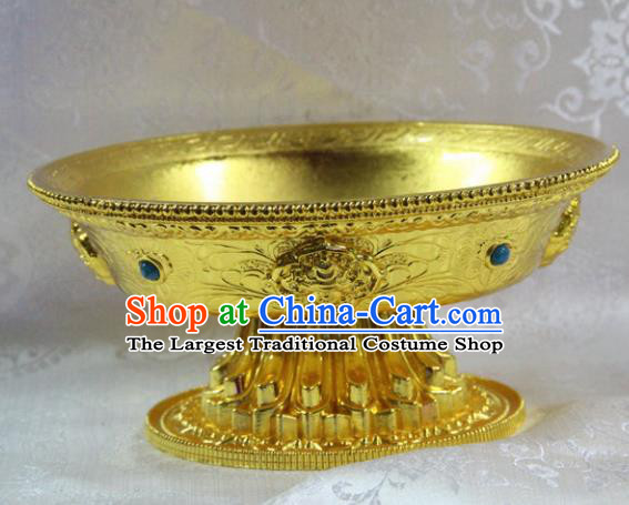 Chinese Traditional Buddhism Brass Tray Feng Shui Items Vajrayana Buddhist Teaboard Decoration