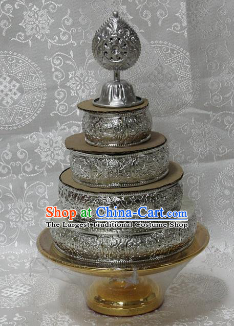 Chinese Traditional Buddhism Cupronickel Carving Tray Feng Shui Items Vajrayana Buddhist Decoration