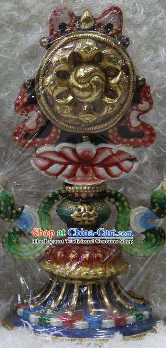 Chinese Traditional Tibetan Buddhism Feng Shui Items Copper Gilding Decoration Buddhist Colored Drawing Offerings