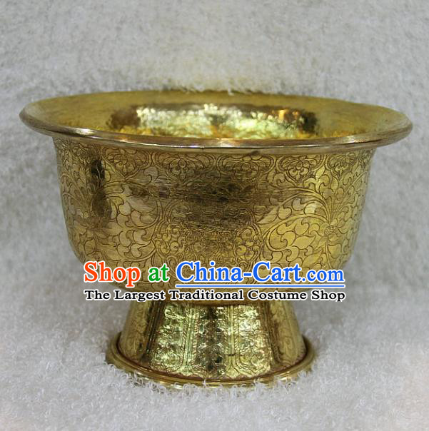 Chinese Traditional Buddhist Brass Carving Bowl Buddha Cup Decoration Tibetan Buddhism Feng Shui Items