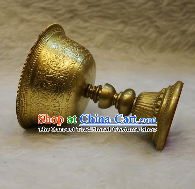 Chinese Traditional Buddhist Offersacrifice Buddha Brass Cup Decoration Tibetan Buddhism Feng Shui Items