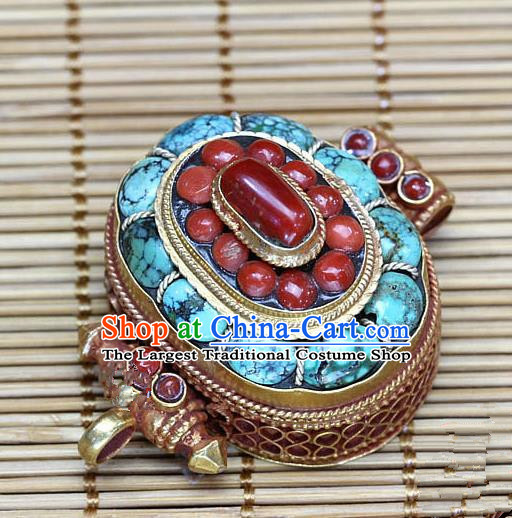 Chinese Traditional Feng Shui Items Buddhism Turquoise Box Buddhist Sliver Decoration