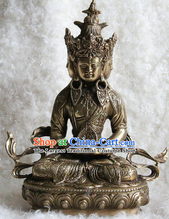 Chinese Traditional Feng Shui Items Copper Buddhism Statue Buddhist Vairochana Sculpture Decoration