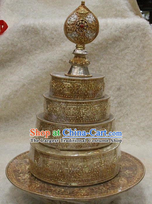 Chinese Traditional Feng Shui Items Buddhism Sliver Tray Buddhist Teaboard Decoration