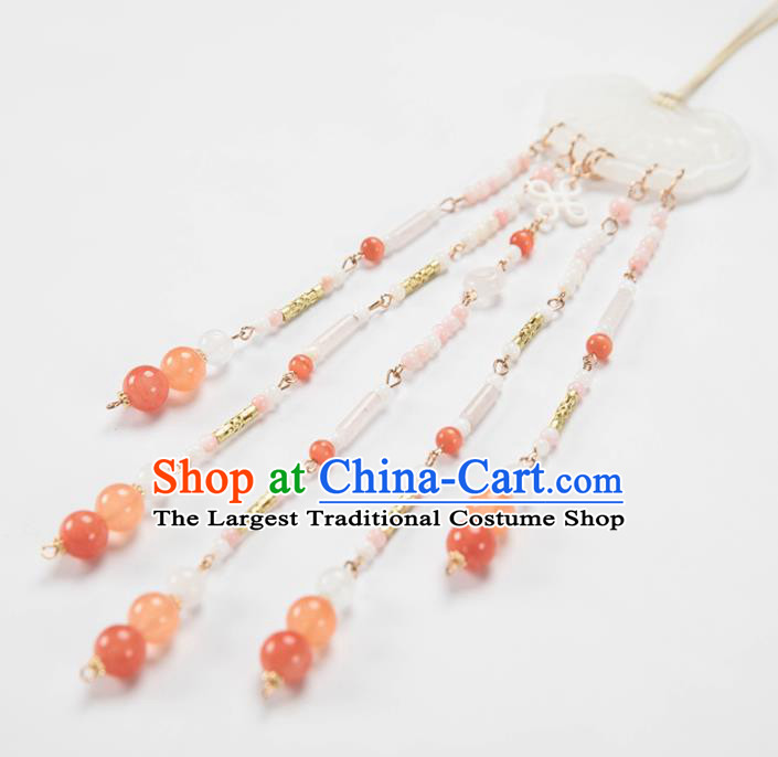 Chinese Traditional Ancient Princess Waist Accessories Hanfu Tassel Jade Pendant for Women