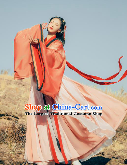 Chinese Traditional Ancient Swordswoman Hanfu Dress Jin Dynasty Court Princess Embroidered Historical Costume for Women