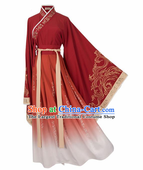 Chinese Traditional Ancient Princess Wedding Red Hanfu Dress Han Dynasty Court Lady Embroidered Historical Costume for Women
