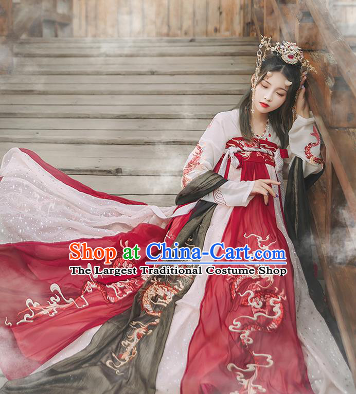 Chinese Ancient Goddess Red Hanfu Dress Traditional Tang Dynasty Court Lady Embroidered Historical Costume for Women