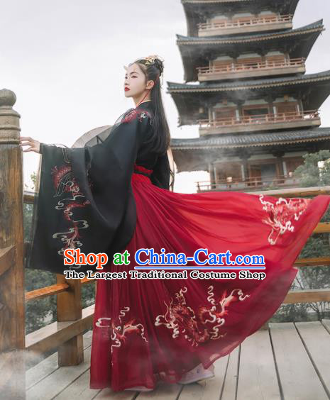 Chinese Ancient Female Swordsman Hanfu Dress Traditional Han Dynasty Court Lady Embroidered Historical Costume for Women