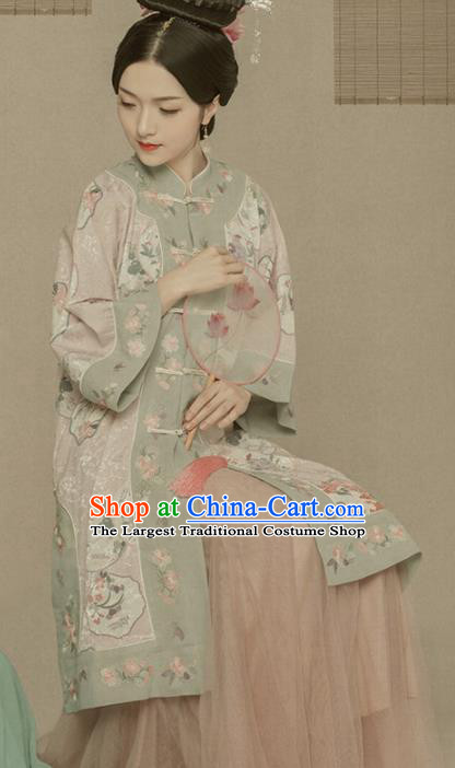 Chinese Ancient Hanfu Dress Traditional Ming Dynasty Manchu Dowager Embroidered Historical Costume for Women