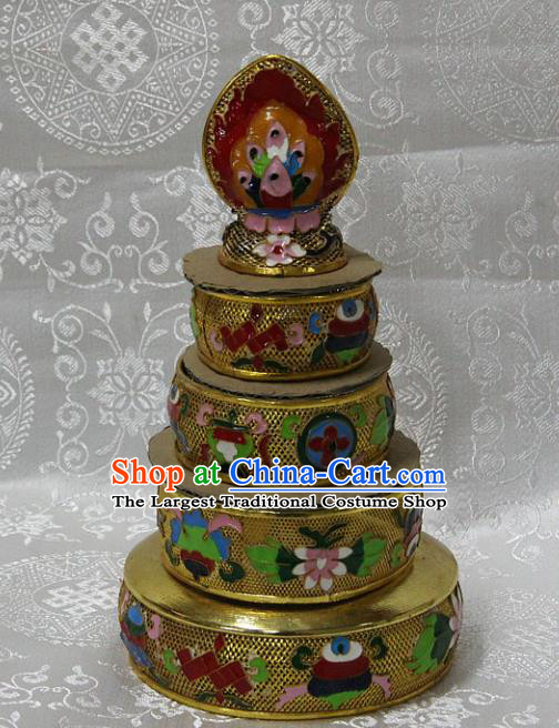 Chinese Traditional Buddhism Brass Cloisonne Carving Tray Feng Shui Items Vajrayana Buddhist Decoration