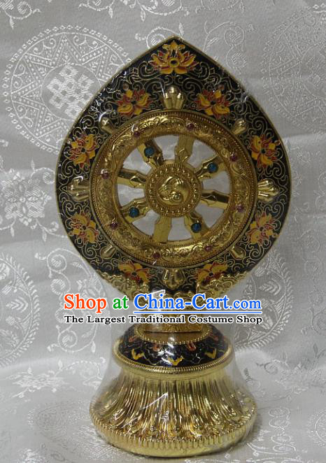 Chinese Traditional Buddhism Brass Wheel Feng Shui Items Vajrayana Buddhist Decoration