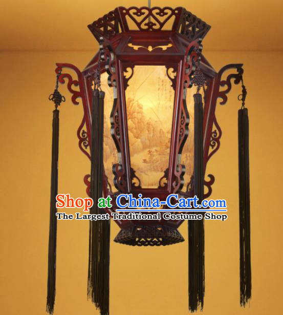 Chinese Traditional Hanging Lantern Handmade Wood Carving Palace Lanterns Ceiling Lamp