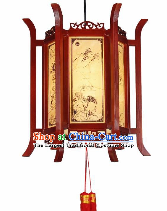 Chinese Traditional Wood Hanging Lantern Handmade New Year Palace Lanterns Ceiling Lamp