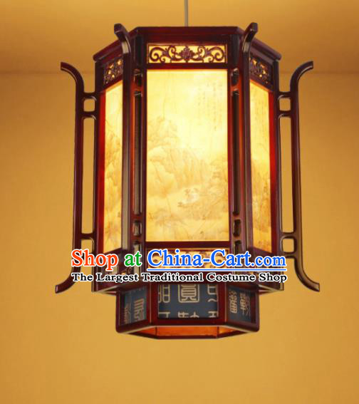 Chinese Traditional Wood Carving Palace Lantern Handmade New Year Hanging Lanterns Ceiling Lamp