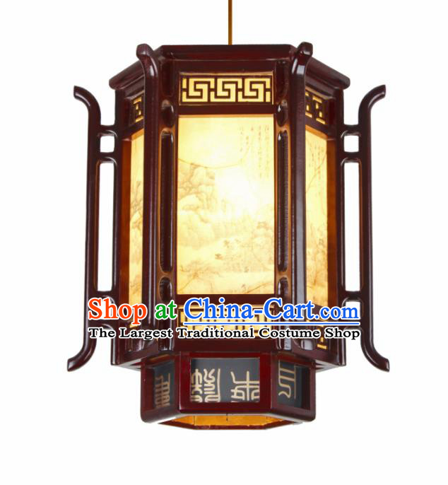 Chinese Traditional Wood Hexagonal Palace Lantern Handmade New Year Hanging Lanterns Ceiling Lamp