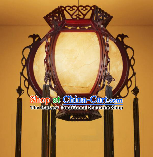 Chinese Traditional Wood Sheepskin Palace Lantern Handmade New Year Hanging Lanterns Ceiling Lamp