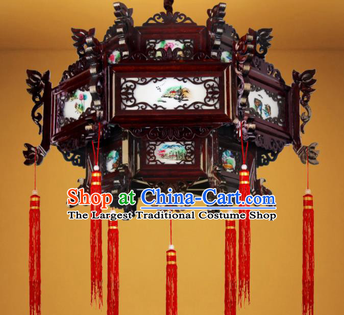 Chinese Traditional Red Tassel Wood Palace Lantern Handmade New Year Hanging Lanterns Ceiling Lamp