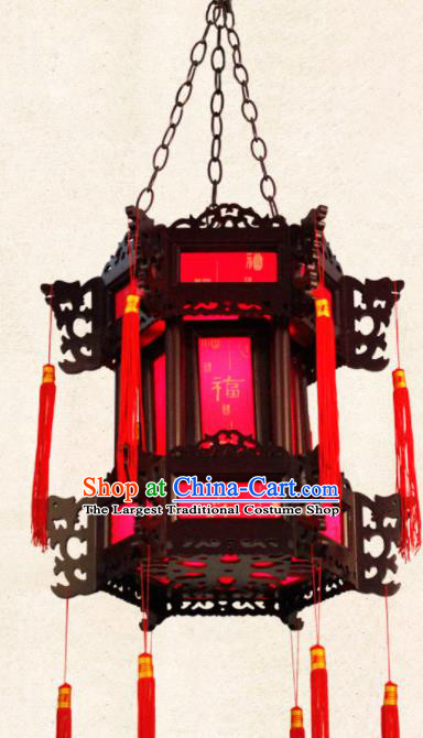 Chinese Traditional Wood Red Palace Lantern Handmade New Year Hanging Lanterns Ceiling Lamp
