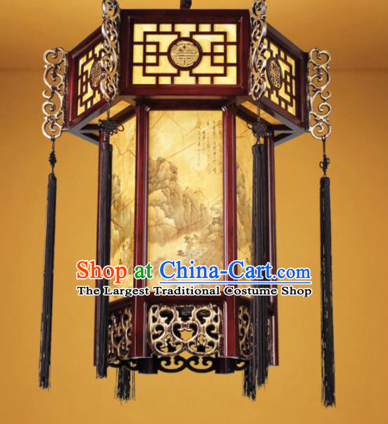 Chinese Traditional Landscape Painting Palace Lantern Handmade New Year Hanging Lanterns Ceiling Lamp