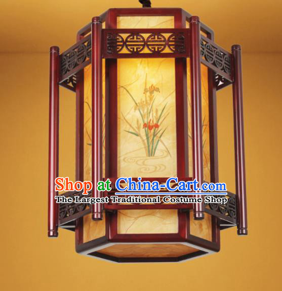 Chinese Traditional Painting Orchid Palace Lantern Handmade New Year Hanging Lanterns Ceiling Lamp