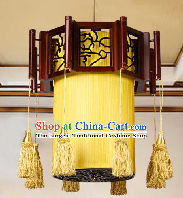 Chinese Traditional Wood Yellow Palace Lantern Handmade New Year Hanging Lanterns Ceiling Lamp