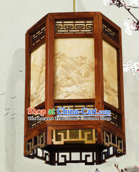 Chinese Traditional Printing Landscape Wood Palace Lantern Handmade New Year Hanging Lanterns Ceiling Lamp