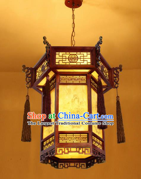 Chinese Traditional Wood Carving Tassel Palace Lantern Handmade Hanging Lanterns Ceiling Lamp